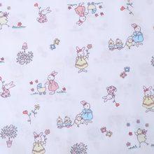 160CM*50CM cotton cloth fresh cartoon BLUE WHITE PINK rabbit potted plant flowers fabrics for DIY crib bedding handwork decor(China)