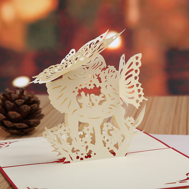 Factory direct Angel kiss stereo creative Valentine cards 3D hollow wedding greeting card(China (Mainland))