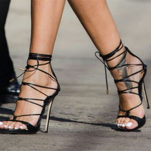 Black & Gold Embossed Leather Strappy Gladiator Sandals Women Sexy Party Shoes Woman Open Toe Lace Up High Heels Sandalias Mujer