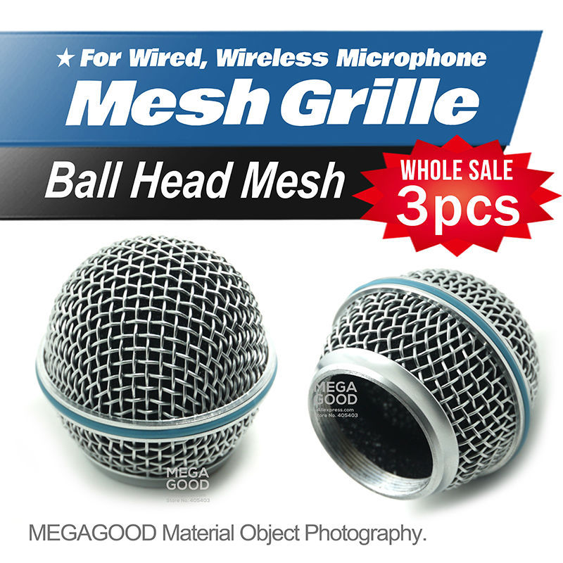 Free Shipping 3pcs/lot Professional Replacement Ball Head Mesh Microphone Grille Fits For Shure BETA58 BETA58A SM58 SM58S SM58LC(China (Mainland))