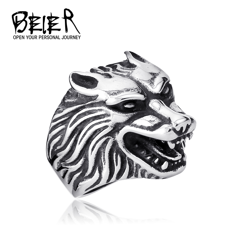 One Piece Drop Ship Fashion Jewelry Super Cool Wolf Rings Stainless Steel Punk Biker Man Ring