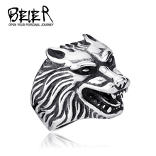 Lots Jewelry Alibaba Express Super Cool Wolf Rings Stainless Steel Punk Biker Man Ring Free Shipping TG802 FS