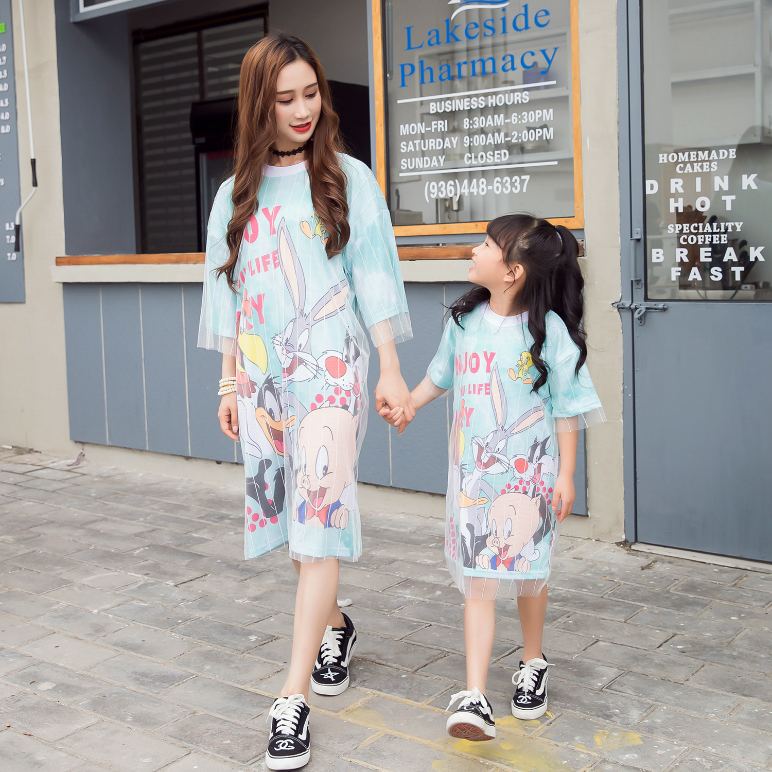 LIKESIDE Christmas Mommy&Me Children Kid Girl Cartoon Print Dress Family Clothes