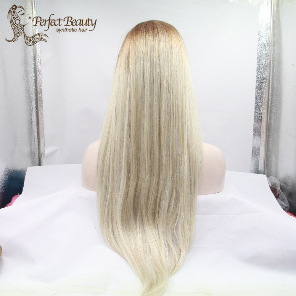 Fast shipping eye-catching silky Straight ombre color Synthetic Lace Front Wig Heat Resistant  Wigs<br><br>Aliexpress
