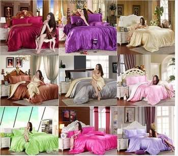 Подражать шелк чувствовать себя атлас без орнамента сплошной кофе розовый фиолетовый покрывало постельные принадлежности комплект комплект пододеяльников для пуховых одеял постельное белье кровать лист комплект