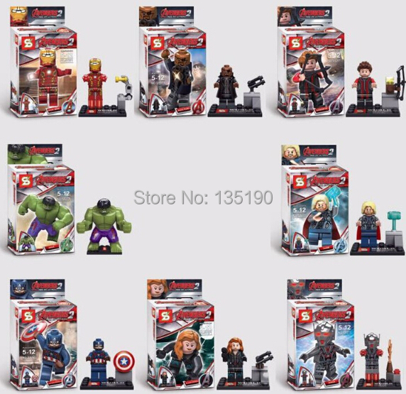 SY271 Super Heroes minifig Nick Fury Captain America Eagle Eye Large Hulk Thor Iron Man Black Widow minifigure toys - dina tang's store