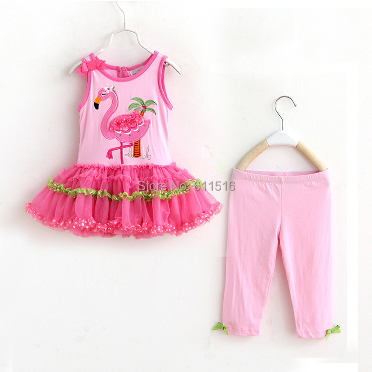 Free Shipping 6 sets/lot Rare editions brand 2-6 yrs Girl Christmas Dress Suit Girl  Flamingo Embroided Dress and Tights Suit<br><br>Aliexpress