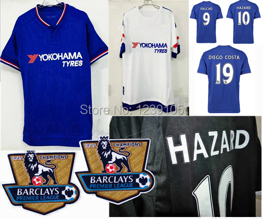 Thai Quality 15 16 Chelsea Soccer Jersey 2015 2016 FC DIEGO COSTA FABREGAS FALCAO OSCAR HAZARD away white black football shirts(China (Mainland))