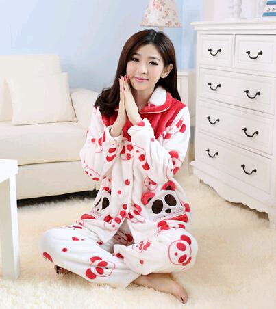 В тёплый зима толстый коралл бархат пижамы, Г-жа очаровательны panda комикс коралл бархат внутренний одежда