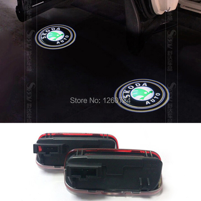 parking,2 x CREE Car LED Laser Logo Light Door Welcome Ghost Shadow Projector Lights For SKODA superb 2009-2012,car styling(China (Mainland))