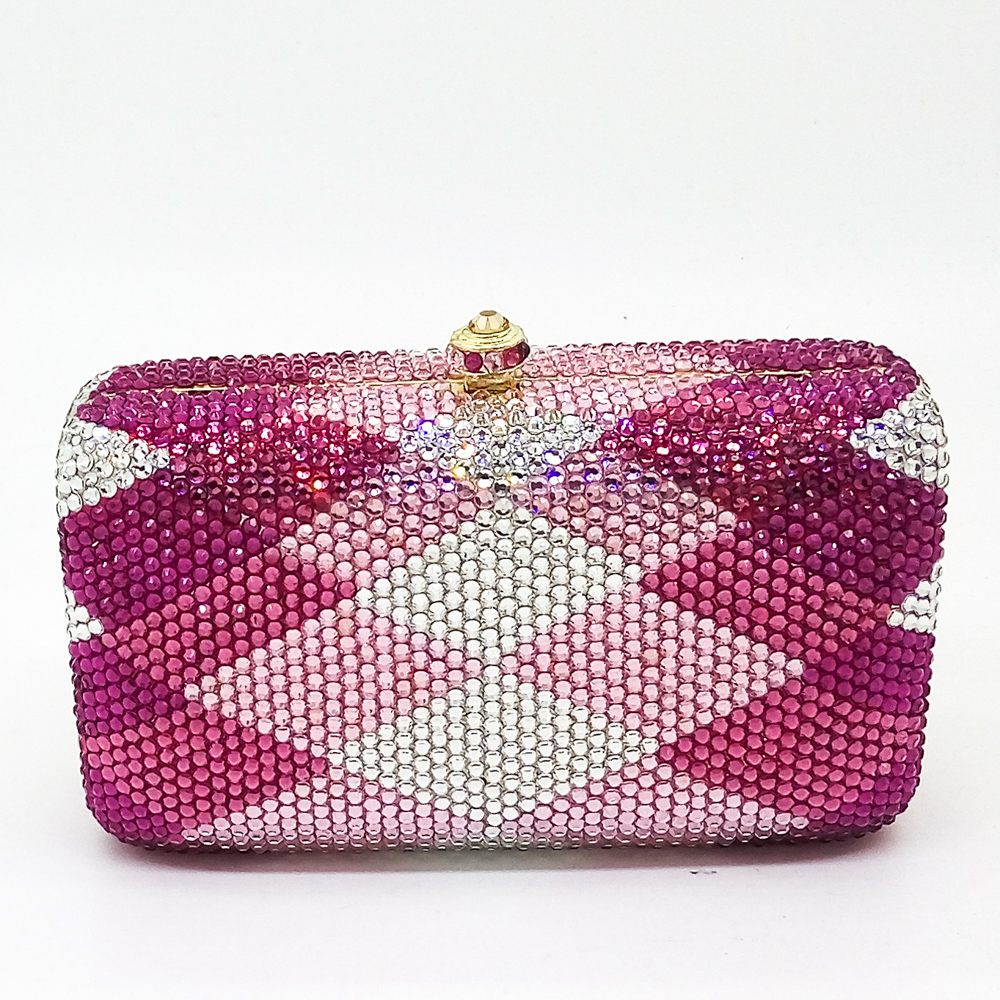 Gift Box Women's Fully Pink & Fuchsia Plaid Crystal Diamond Metal Evening Clutches Purse Wedding Party Prom Handbag Clutch Bag(China (Mainland))