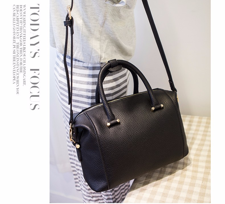 Classic Elegant Boston Bag Women Luxury Large Handbag Stylish Black Grey Ladies Designer Plain PU Shoulder Bag Crossbody