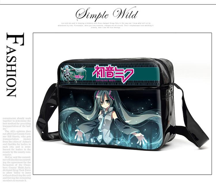 VOCALOID Hatsune Miku Anime Cosplay Messenger Bag PU Cartoon Unisex Students Book Shoulder Bag