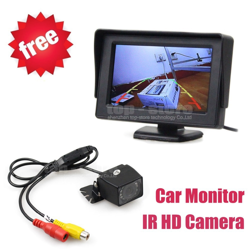 General Waterproof IR Night Vision HD CCD Rear View Car Camera + 4.3 Inch Color TFT LCD Car Monitor Parking Assistance System(China (Mainland))