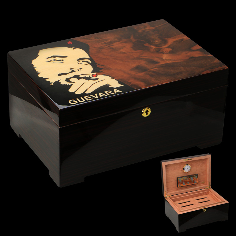 Che Guevara Luxury High Glossy Yellow Piano Finish Cedar Wood Cigar Humidor Cabinet Storage Box with Tray Hygrometer Humidifier(China (Mainland))