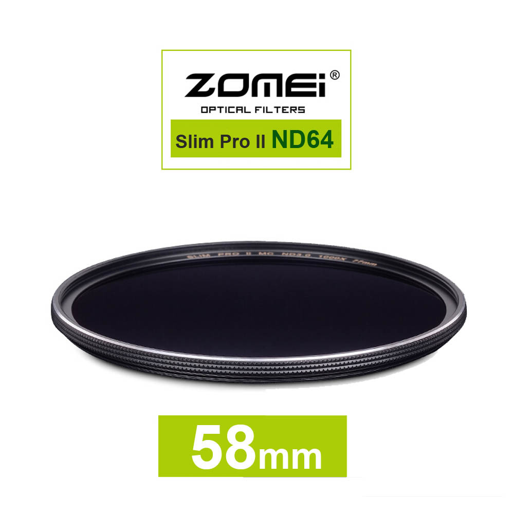 New Zomei 58mm Ultra Slim ND64 ND1.8 64X 6 Stop Exposure Sliver Rimmed Glass Neutral Density ND Filter for Canon Nikon Sony lens(China (Mainland))
