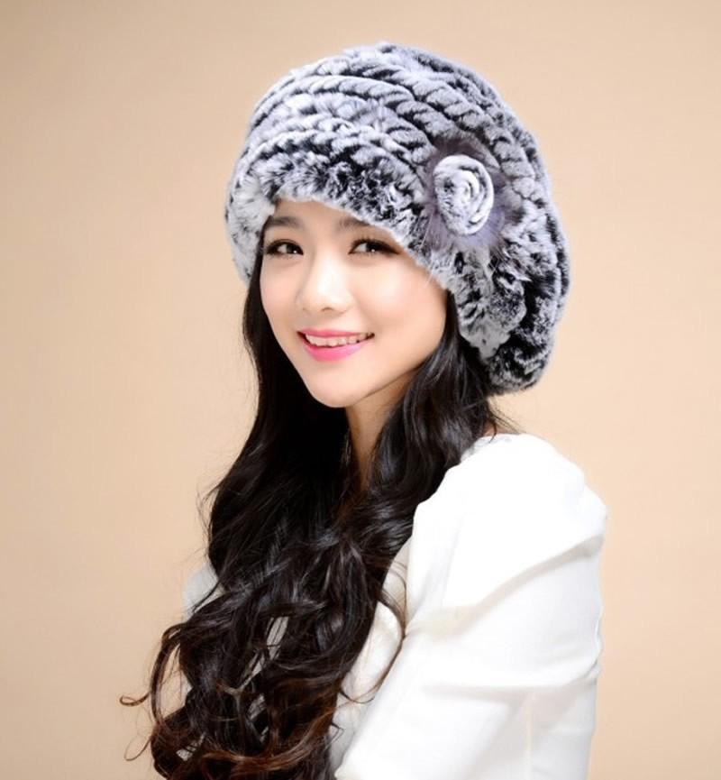DL-10816 2016 New Genuine Rex Rabbit Fur Hat Knitted Rabbit Fur Cap Real Rabbit Fur Headwear Winter Warm Womens Hat(China (Mainland))