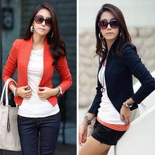 2015 New Blazer Women Ladies Feminine Work Long Sleeve Shrug Basic Cropped Coat Jacket Suit Blazer Big Size Free Shipping 1031(China (Mainland))