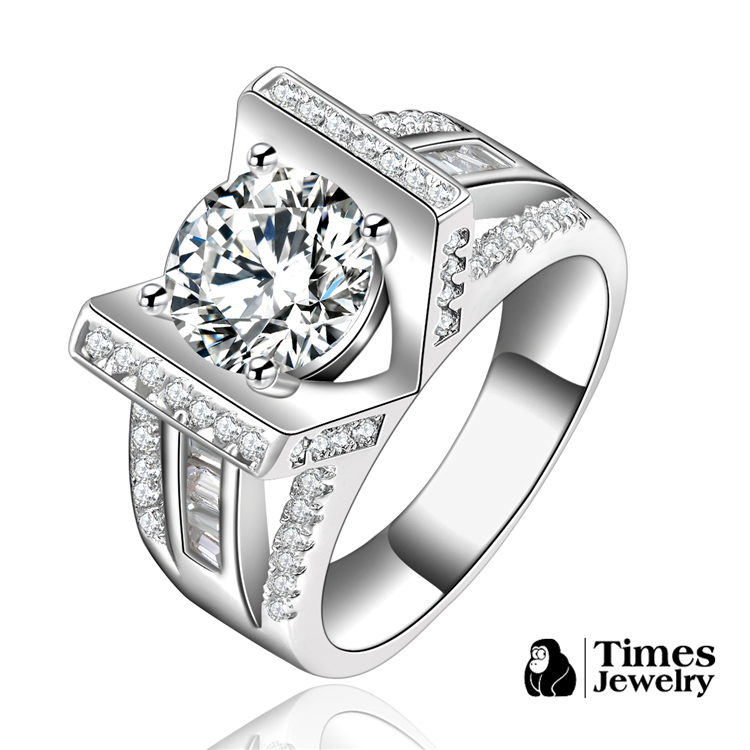 White Gold Filled rings for love women Luxury Big Crystal fashion Jewelry wedding gift CZ Diamonds Bijoux Accessories TSR145(China (Mainland))