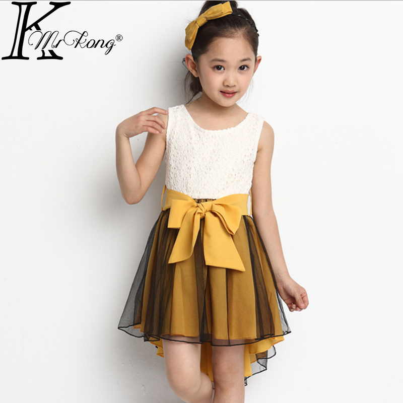 6-13 yrs teen girl lace vest Yellow&Pink A-line dress 2014 summer new children big bow chiffon Big casual - MrKong kids shop store
