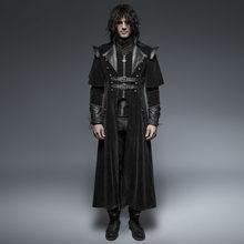 Punk Rave Mens Coat Long Jacket Black Gothic Steampunk VTG Regency Highwayman(China (Mainland))
