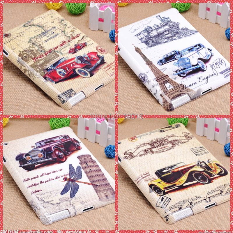 Fashion New Retro Bubble Car Design plastic Hard Back Case/cover for iPad 2 3 4(China (Mainland))
