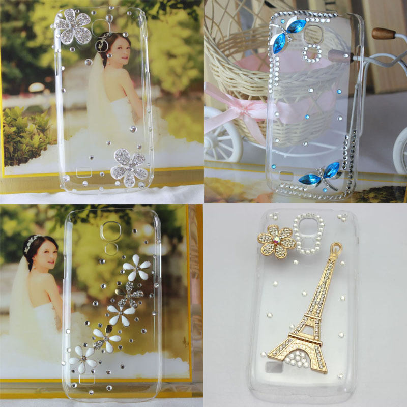 2015 3D Bling Crystal Diamond Daisy Eiffel Rhinestone Clear Cell Phones Case Samsung Galaxy S4 mini i9190 - Arvin Hoa's Store store