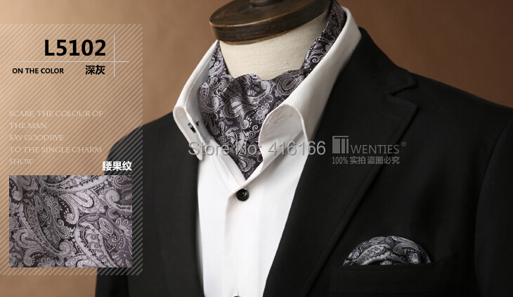 Grey color 100% Silk Men Ascot Cravat(Scarf )+Pocket Square 1set/lot Jacquard Ties Paisley Floral Free shipping(China (Mainland))