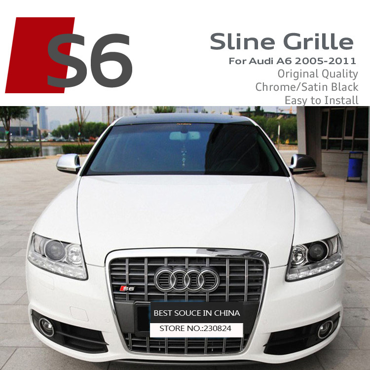 Satin Black/Chrome Frame S6 Front Grille ABS Car Bumper Grilles RS Sline S line Grills Race Bumper Grille For Audi A6L 2005-2011(China (Mainland))