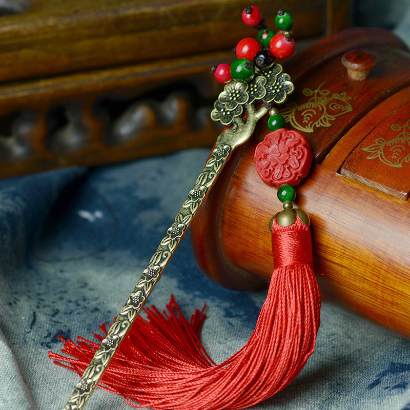 Hair Sticks Headwear Vertical Clip 2016 New DIY Flowers Lacquer Carving Tassel Hairpins Beads Retro Jewelry Accessories F004(China (Mainland))