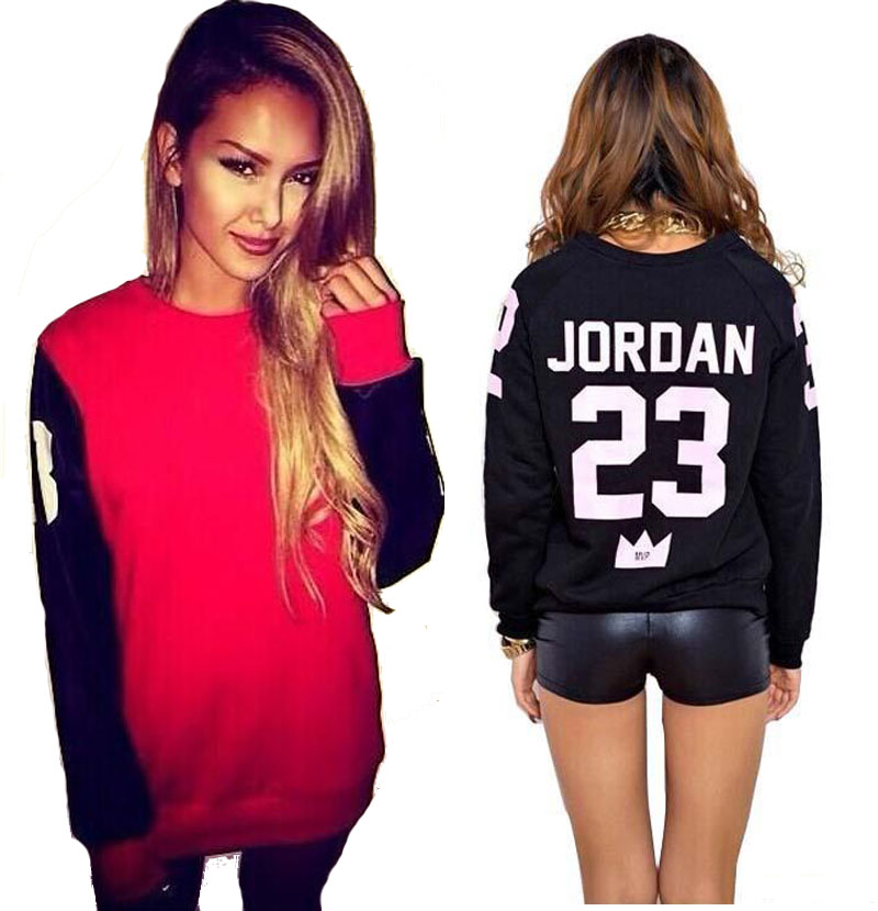 new 2015 spring auturn brand logo M-XL winter warm fleece print JORDAN 23 hoodies women hip hop sport sweatshirt(China (Mainland))