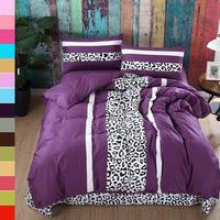 High Count Cotton Bedding Sets King Size Leopard Purple Plaid Duvet Covers Set Bed Sheet Set,Bed Set bedclothes #HM1543