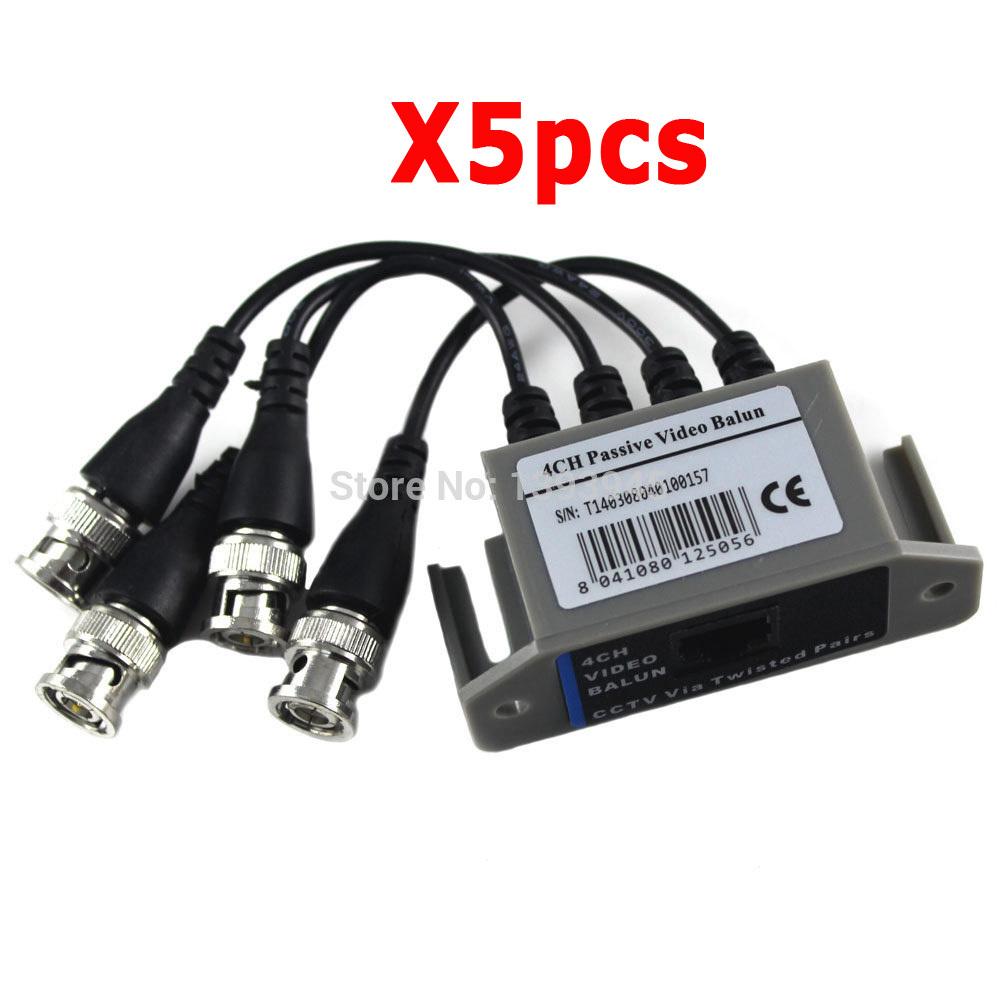 4CH BNC Video Balun UTP Passive Coax Transmission Cat 5 RJ45 4 Channel CAT5 CCTV Camera Transceiver Reveiver Cable(China (Mainland))