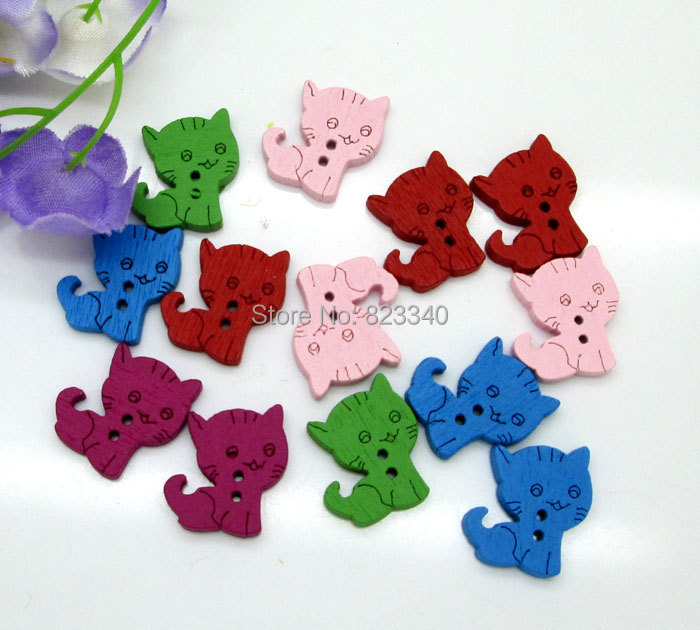 Buttons Wood Buttons 200Pcs Mixed Color 15x17mm 2 Holes Wooden Buttons Clothing Accessories Flatback Scrapbooking Craft(China (Mainland))