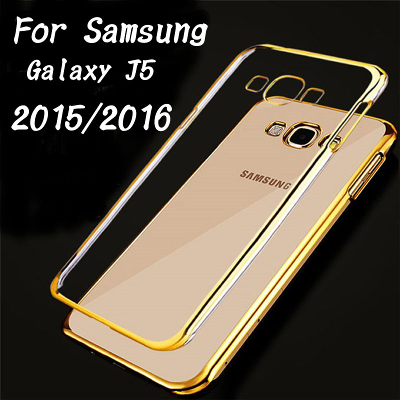 J5 Ultra Thin Plating Crystal Clear Case For Samsung Galaxy J5 J500H 2015 / 2016 J510 Soft TPU Cover Phone Bag Shell Fundas Para(China (Mainland))