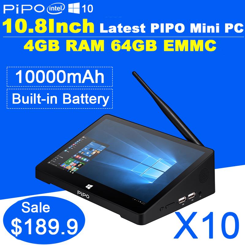 Newest 10.8 Inch 1920*1280 PIPO X10 Mini PC Windows 10 TV Box Z8300 Quad Core 4G RAM 64G ROM HDMI Media Box Bluetooth Win10(China (Mainland))