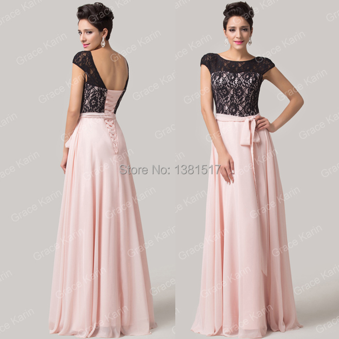 High Quality Grace Karin Cap Sleeve Design Backless Light Pink Lace Evening Dress Chiffon Prom Gown Formal Party Dress CL6152(China (Mainland))