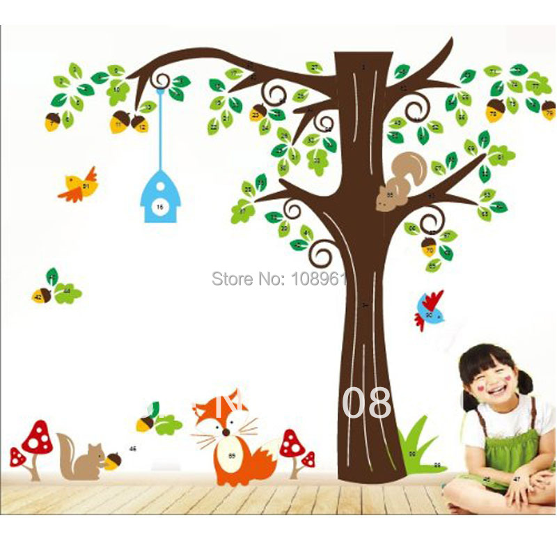 Forest Animals Birds Fox Squirrel Mushrooms Trees Art Wall Stickers Decal For Nursery Home Decor