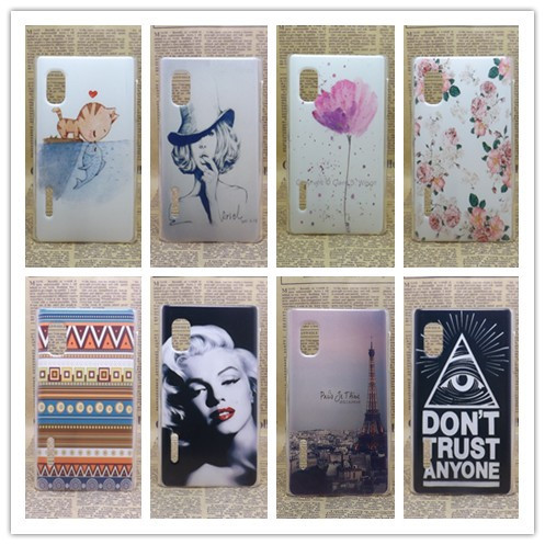 Brand New transparent side Painting Hard Plastic Phone Case LG Optimus L5 E610 E612 Skin Back Cover +Screen protector - All gadgets cooperation store