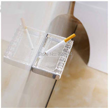 Free Shipping! New Chrome Bathroom Ashtray Wall Mounted Glass Bath Accessories Easy Cleanable(China (Mainland))
