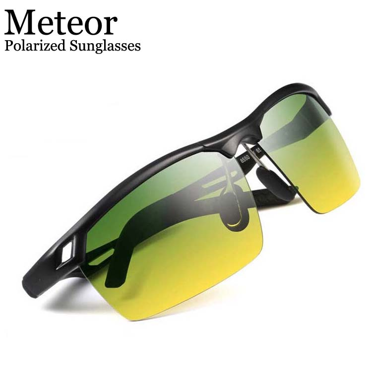 Genuine Day&Night Use Drivers Car UV Polarized Sunglasses Men Sports,Elegant Add Green Yellow lens Metal Prevent Glare Glasses(China (Mainland))
