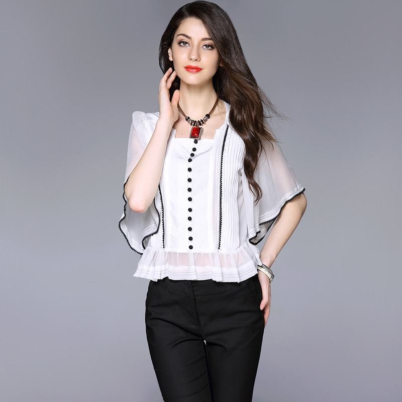Ladies Office Shirts New 2016 Natural Blouse For Fashion Woman Korean Fashion Summer Style
