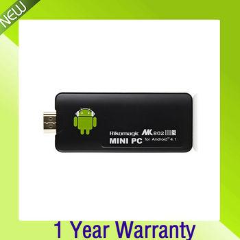 Freeshipping Rikomagic MK802 IIIS Mini PC Bluetooth Mobile Remote Control RK3066 Cortex A9 1GB RAM 8G ROM HDMI TF Card TV Stick