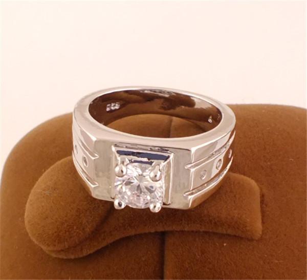 Free shipping 1pc 18K White Gold Plated Nice Classic Clear CZ Zircon Beautiful Wedding ring(China (Mainland))