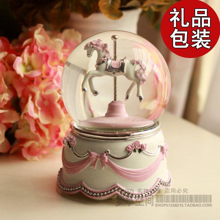 Free Shipping Romantic Wedding Gift Carousel Music Box Crystal Ball Eight Female And Practical