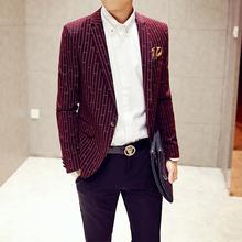 2015 Men s new winter leisure suit influx of men Slim striped long sleeved jacket