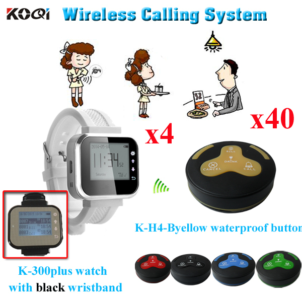 Restaurant Bell System Service Push Calling Button Alert By Sound Or Vibration ( 4 watch receiver + 40 waterproof table bell)(China (Mainland))