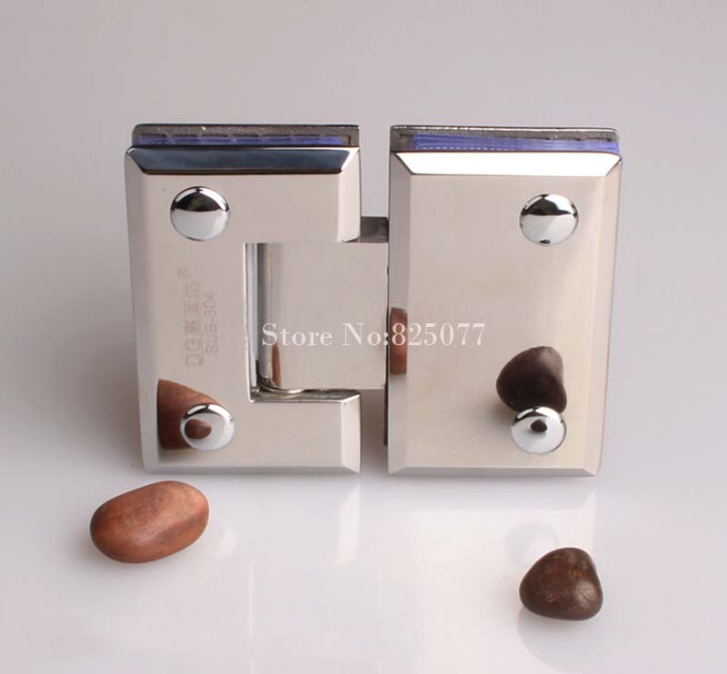 Free shipping High Quality Mirror 180 Degrees open Stainless Steel 304 Wall Mount Glass Shower Door Hinge Hypotenuse Hinge HM159(China (Mainland))