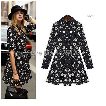 2015 Women's Plus size Clothes new spring turn-down collar long-sleeve floral slim one-piece dress - Jerry's shop store