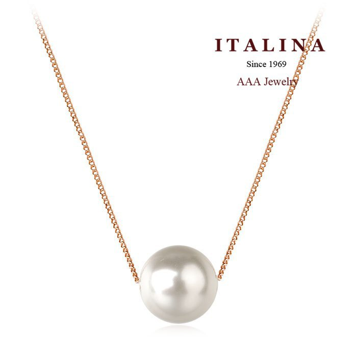 Real Gold Plated Fashion Imitation Pearl Necklace for Women Girls Italina Bead Jewelry